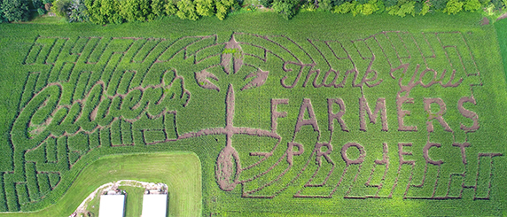 Aerial view of the DeForest, Wisconsin, Culver's Thank You Farmers Project corn maze