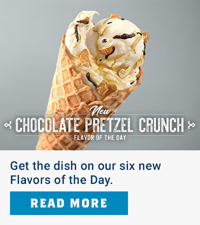 New Chocolate Pretzel Crunch Flavor of the Day - Get the dish on our six new Flavors of the Day. Read More.