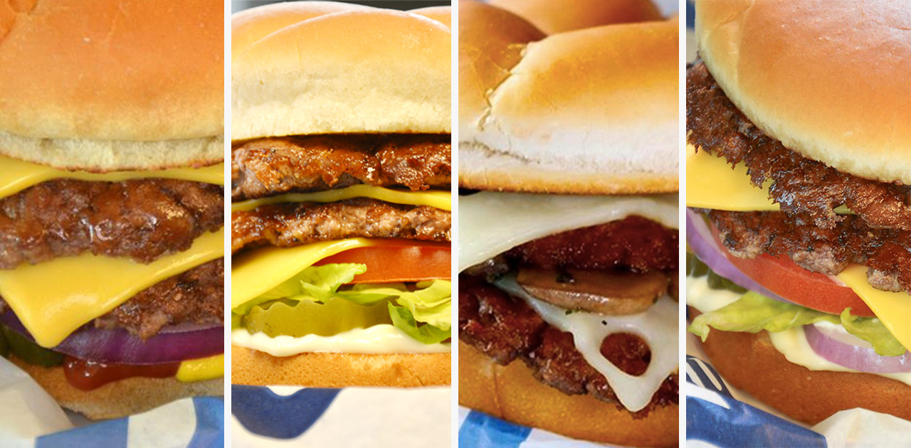A collage of four photos containing different close-ups of various ButterBurgers® from Culver's