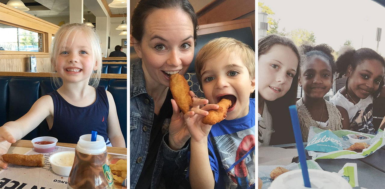 Collage of kids eating Chicken Tenders at Culver's.