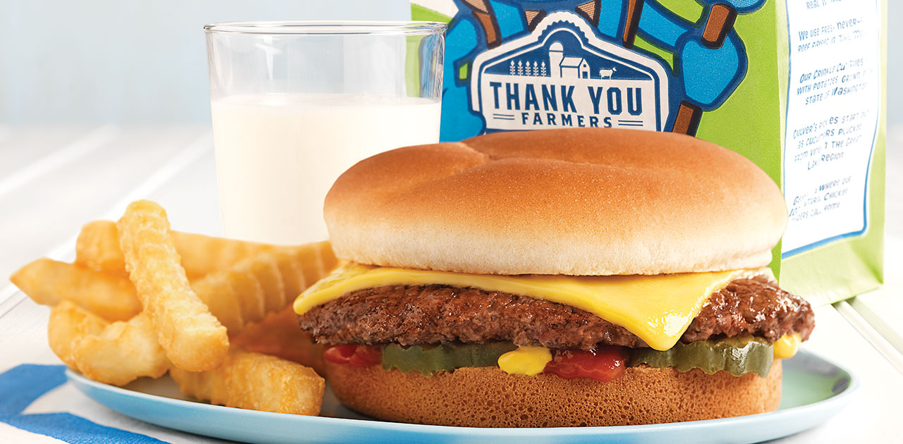 Image of a Culver's Kids Meal: Single ButterBurger Cheese, Fries and Milk.