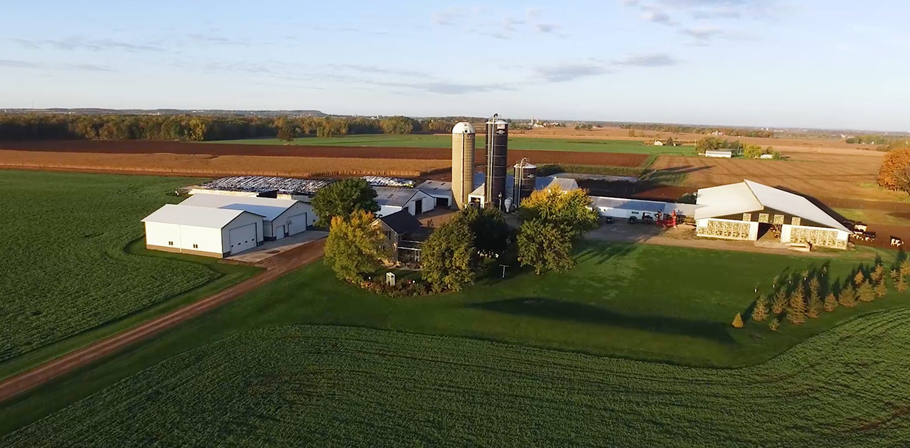 An Aerial shot of a Wisconsin Farm.