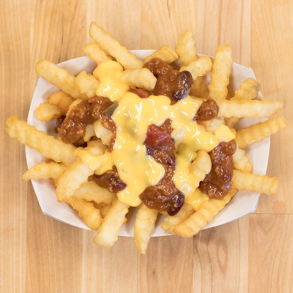 Culver's Crinkle Cut Fries with George's Chili and topped with Wisconsin Cheddar Cheese Sauce