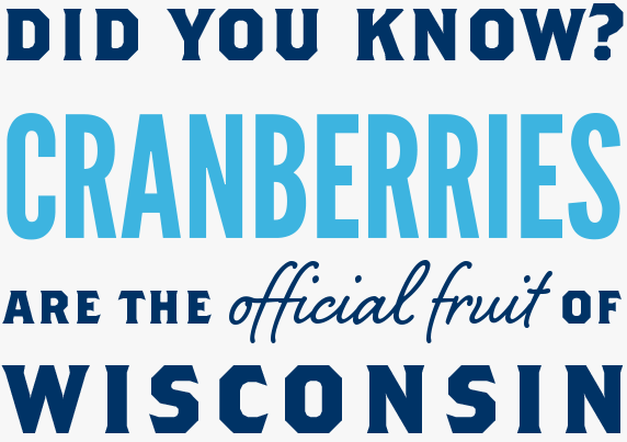 "Text that reads ""Did You Know? Cranberries are the official fruit of Wisconsin"" in bold, blue letters"