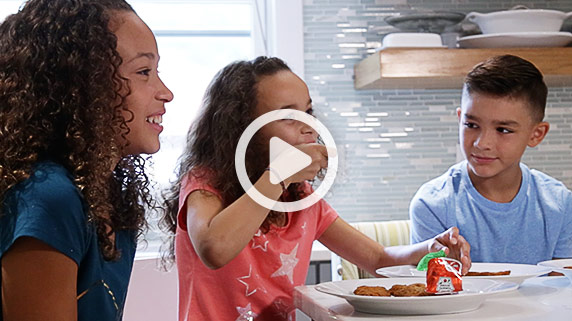 Click to play a video that shows kids explaining what makes food healthy and why they love Culver's chicken tenders.