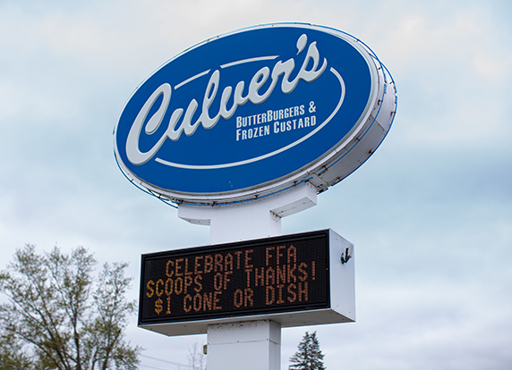 Culver's sign advertises Scoops of Thanks Day.