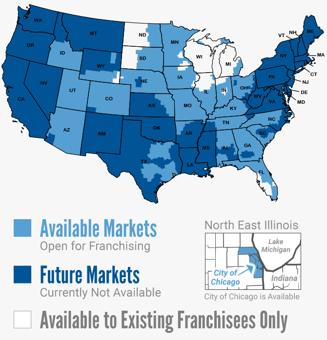 US Map of Available and Future Markets for Development