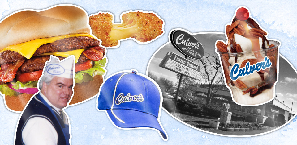 Collage of Craig Culver, a ButterBurger, cheese curd, sundae, and the original Culver's
