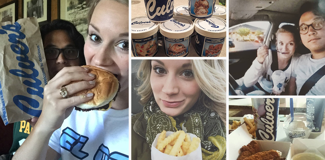 Newlyweds enjoy Culver's together.