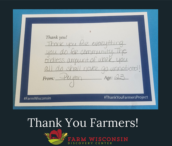 Visitors to the Wisconsin Farm Discovery Center wrote thank-you notes to Wisconsin farmers.