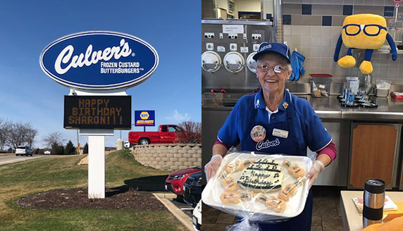 Collage of Culver's marquee sign and photo of Sharon with a birthday cake.