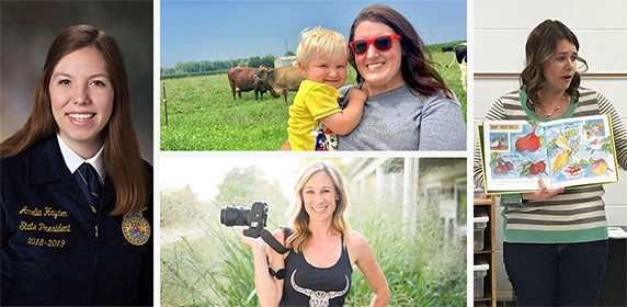 Collage image of women in agriculture who Culver's has featured.