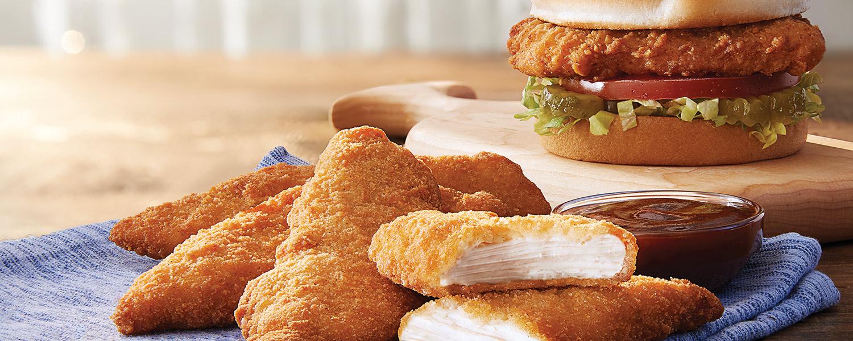 Sándwiches y tiras de pollo