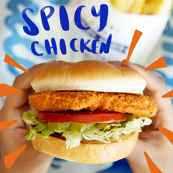 "The Spicy Crispy Chicken Sandwich with colorful animated lines and ""Spicy Chicken"" around the sandwich."