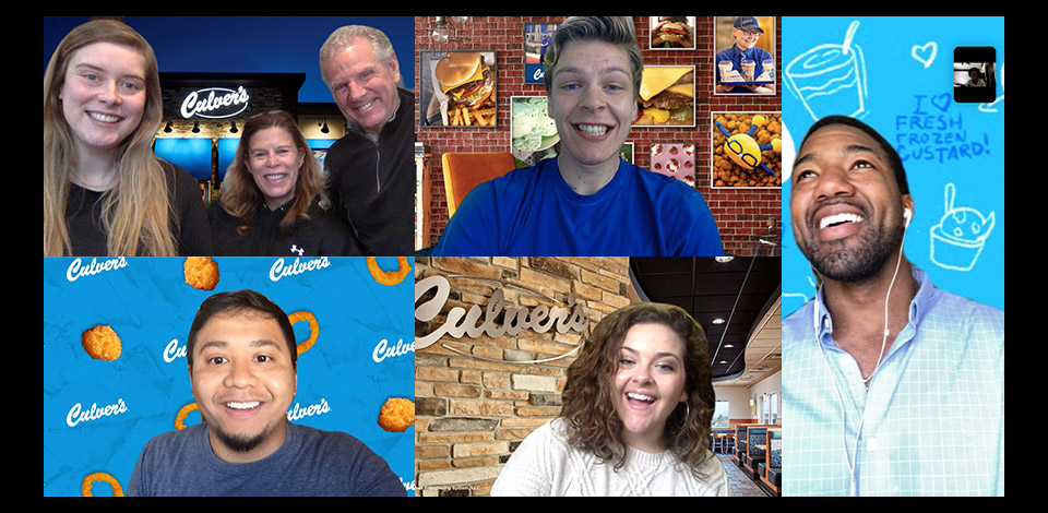 Collage of guests using the five different video chat backgrounds: cheese curds, in restaurant, Culver's Super Fans, Culver's Wall Decor and outside night shot of restaurant.