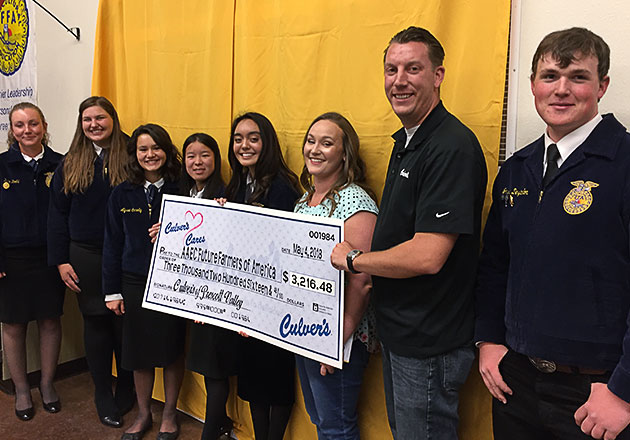 Caleb and Emily Meier present a donation check to a group of six FFA members in blue jackets.