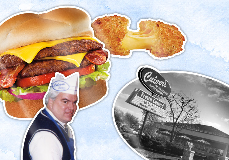 Link to story: Culver's Quiz: Are you a Culver's Expert? Pictured, a collage of Craig Culver, a ButterBurger, cheese curd, sundae, and the original Culver's