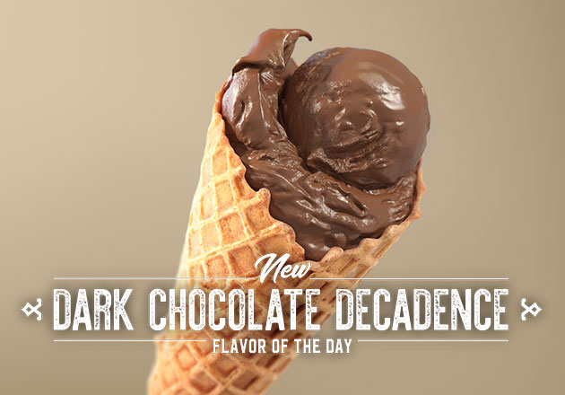 The New Dark Chocolate Decadence Flavor of the Day in a cone with a brown background.