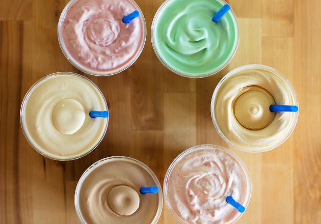 An array of Culver's Milkshakes, each a different flavor, arranged in a circular shape.