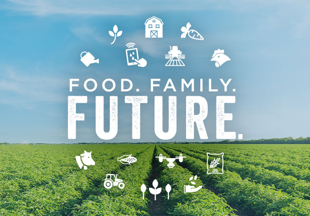 """Food. Family. Future."" Sweepstakes logo with field in background."