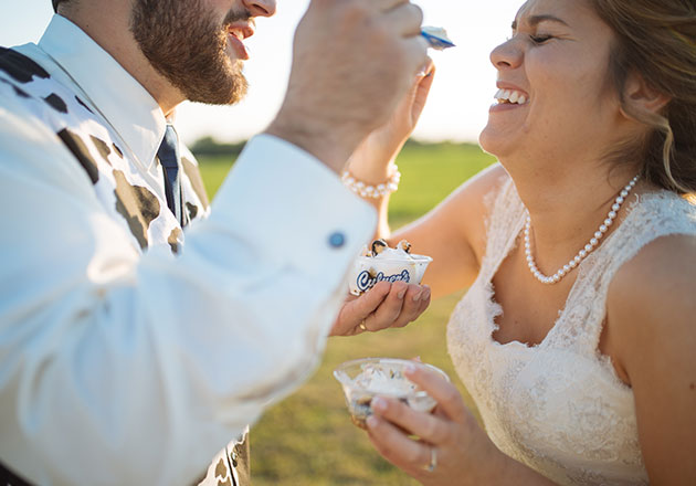 Katy and Cory B. enjoy some Fresh Frozen Custard at their wedding.