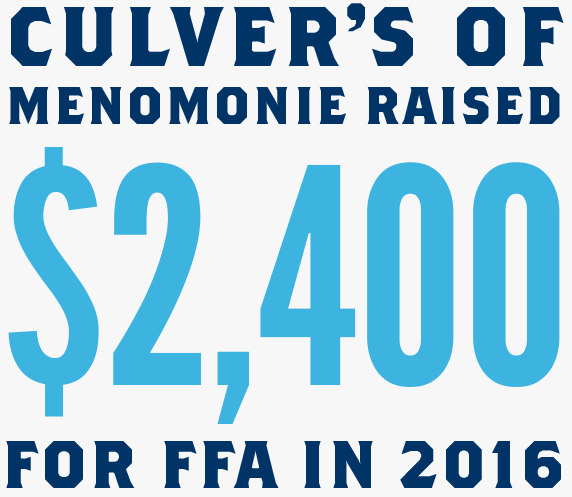 Culver's of Menomonie raised $2,400 for FFA in 2016
