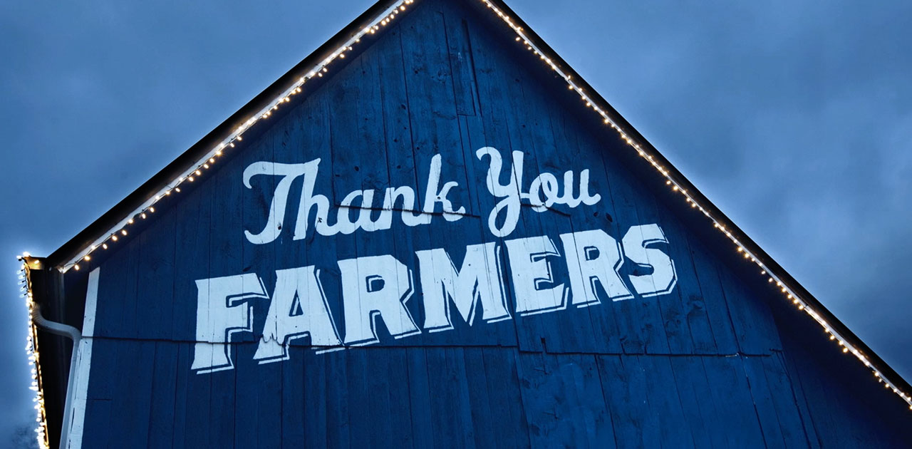 "Blue Barns' ""Thank You"" to Farmers Shines Bright"