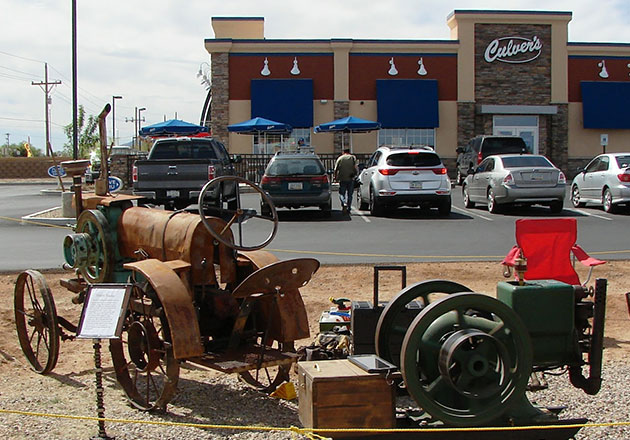 Antique farm machinery is displayed at Culver's of Sierra Vista, Arizona, as part of their Power From the Past event.]
